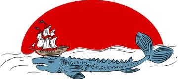 Echeneis - legendary sea creature. On white background Stock Photos