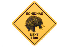 Echidna warning sign Stock Photo