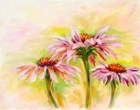 Echinacea, olieverfschilderij Stock Fotografie