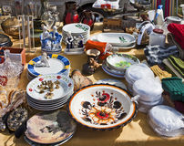 Eching, Germany - merchandise on display at flea market stall Stock Photos