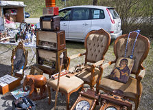 Eching, Germany - merchandise on display  at open air flea marke Royalty Free Stock Photo