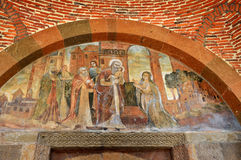 Echmiadzin, Russia, ancient frescoes above the entrance to the Church of St. Gayane in Echmiadzin. Echmiadzin, Russia, frescoes above the entrance to the Church Royalty Free Stock Images