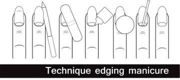 Echnique не окаймляя маникюр Европейский маникюр Walkthrough черная белизна Стоковое Изображение