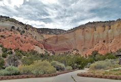 Echo Amphitheater. Is a natural amphitheater located in Rio Arriba County, in northern New Mexico Royalty Free Stock Photo