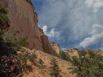 Sheer Cliffs around Echo Amphitheater. Echo Amphitheater is a natural, colorful geological feature combined with unusual auditory properties located in Tierra royalty free stock photography