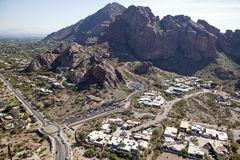 Echo Canyon. At Camelback Mountain with new parking and roundabout Stock Photo