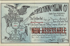 1902 Echo Copper Mining and Milling Company Stock Certificate - Wyoming Stock Photography