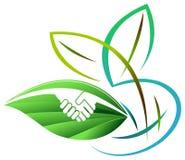 Echo Handshake. Handshake with leaf ecological concept Royalty Free Stock Images