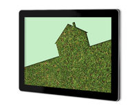 Echo house metaphor. Made in 3d software on screen of tablet Royalty Free Stock Image