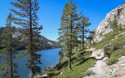 ECHO LAKE, CALIFORNIA, UNITED STATES - Sep 18, 2019: Echo Lakes Hiking Trail