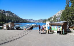 ECHO LAKE, CALIFORNIA, UNITED STATES - Sep 18, 2019: Visitors stand near the dock of Echo Lake