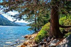 Echo Lake in de Siërra dichtbij Tahoe van een vlek aan de kant van het oosten stock foto
