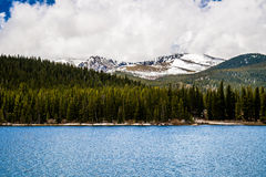Echo Lake on Mt Evans Colorado. View of the snow capped summit of Mt Evans seen from the blue waters of Echo Lake. Mount Evans is one of the top travel vacation Stock Photography