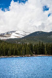 Echo Lake on Mt Evans Colorado. View of the snow capped summit of Mt Evans seen from the blue waters of Echo Lake. Mount Evans is one of the top travel vacation Royalty Free Stock Photos
