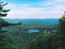 Echo Lake State Park summer view from Cathedral Ledge. Echo Lake State Park summer view NE from the summit of Cathedral Ledge in North Conway New Hampshire stock photo