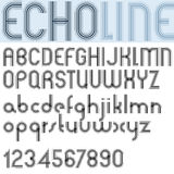 """""""ECHO LINE"""" retro striped rounded font. Stock Photos"""