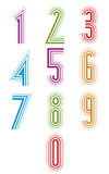 Echo lined numbers vector set. Stock Photo