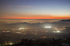 Echo Mtn View. Foggy sunset view from Echo Mountain high above Pasadena and Los Angeles, California Stock Photography