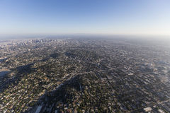 Echo Park and Downtown Los Angeles Aerial Royalty Free Stock Images