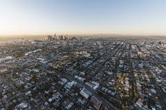 Echo Park y antena céntrica de la salida del sol de Los Ángeles Imagenes de archivo