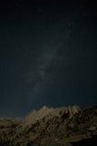 Echo Peaks, Milky Way. Milky Way over moonlit Echo Peaks in Yosemite royalty free stock photos