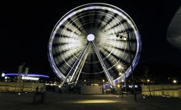 The Echo Wheel of Liverpool / Liverpool Eye by night - Keel Wharf waterfront of the River Mersey, Liverpool. United Kingdom on 26th December 2017 stock photo