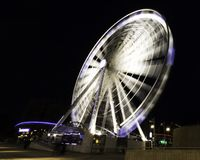 The Echo Wheel of Liverpool / Liverpool Eye by night - Keel Wharf waterfront of the River Mersey, Liverpool. United Kingdom on 26th December 2017 stock photos