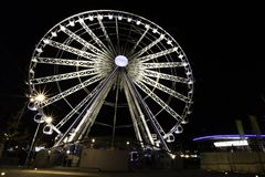 The Echo Wheel of Liverpool / Liverpool Eye by night - Keel Wharf waterfront of the River Mersey, Liverpool. United Kingdom on 26th December 2017 royalty free stock photos