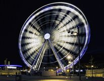 The Echo Wheel of Liverpool / Liverpool Eye by night - Keel Wharf waterfront of the River Mersey, Liverpool, UK. The Echo Wheel of Liverpool / Liverpool Eye by stock image