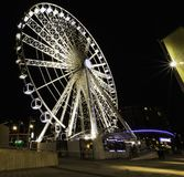 The Echo Wheel of Liverpool / Liverpool Eye by night - Keel Wharf waterfront of the River Mersey, Liverpool. United Kingdom on 26th December 2017 royalty free stock photography