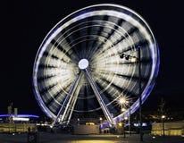 Echo Wheel von Liverpool/von Liverpool-Auge bis zum Nacht - Keel Wharf-Ufergegend des Flusses Mersey, Liverpool, Großbritannien stockbild