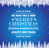 EChristmas greeting card on blue background with snow. Happy New Year message Royalty Free Stock Photography