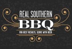 Echt Zuidelijk Barbecueembleem stock illustratie