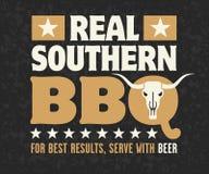 Echt Zuidelijk Barbecueembleem Royalty-vrije Stock Foto's