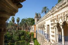 Echte Alcazar Sevilla stock afbeelding