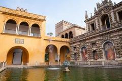 Echte Alcazar Sevilla Spanje stock foto's