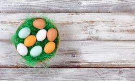 Echte die eieren in mand met groen gras op rustiek wit hout wordt gevuld Stock Fotografie