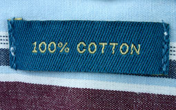 Echte macro van kledingsetiket stock afbeelding