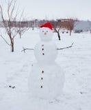 Echte sneeuwman in openlucht stock fotografie