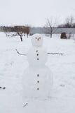 Echte sneeuwman in openlucht royalty-vrije stock fotografie
