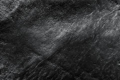Echte zwarte leerachtergrond, patroon, textuur Royalty-vrije Stock Foto