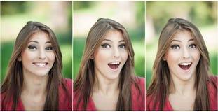 Echter natürlicher Brunette mit dem langen Haar im Park. Porträt der attraktiven Frau mit dem schönen Augenlachen.  Nette junge Fr Lizenzfreie Stockfotos