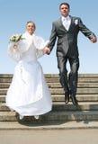 Echtgenoot en bruid stock foto's