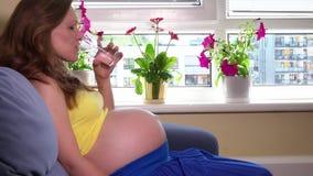Echtgenootman de hand geeft glas water voor zijn zwangere zitting van de vrouwenvrouw op bank stock videobeelden
