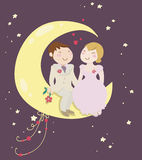 Echtpaar enkel op de maan royalty-vrije illustratie