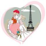 Echtpaar enkel in Parijs dichtbij de toren van Eiffel stock illustratie