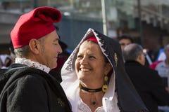 Echtpaar in Sardische kostuums Stock Fotografie