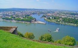 Eck alemão em Koblenz Fotos de Stock Royalty Free