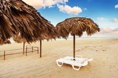 Eckchairs na praia Fotografia de Stock Royalty Free