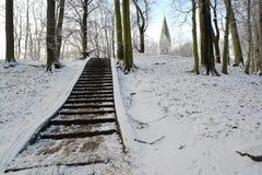Ecke des Central Park mit einer Steinleiter Kaliningrad Lizenzfreie Stockfotografie